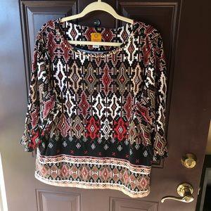 Ruby Rd multicolor 3/4 sleeve beaded neckline top